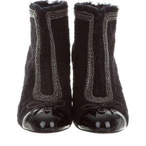 Chanel Tweed Capped Toe Booties